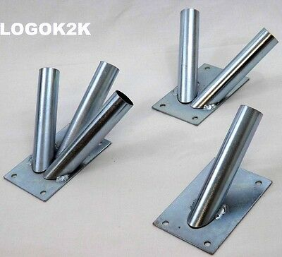 SILVER Flag Pole Holder Wall Bracket Zinc Plated For 1 2 or 3 Flags Flagpole NEW