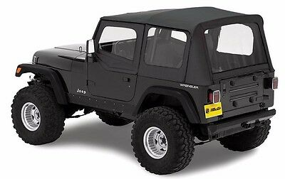 Bestop Replace-A-Top Soft Top with Upper Door Skins 88-95 Jeep Wrangler YJ Clear