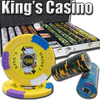NEW 1000 PC King's Casino 14 Gram Pro Clay Poker Chips Aluminum Case Set Custom