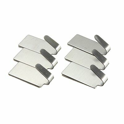 6Pcs Stainless Steel Self Adhesive Stick Wall Hook Hanger Holder FP6