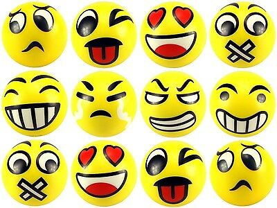 "12 pcs Fun Emoji 4"" Stress Balls Happy Face Emotion Squeeze Soft Hand Gift Toy"