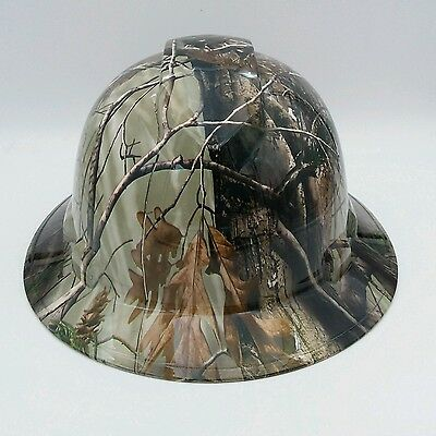 Hard Hat FULL BRIM custom hydro dipped ,OSHA approved DEEP WOODS SAFETY GLASSES