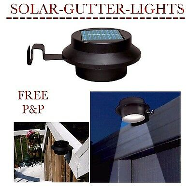 Pack Of 3 Outdoor 3 Led Solar Sun Powered Garden Roof Gutter Fence Shed Light