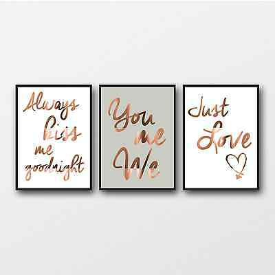 Love set of Copper prints / Bedroom posters trio / Just love You me We Kiss Me