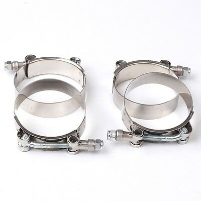 """4X 2.25"""" Stainless Steel T-Bolt Clamps Turbo Intake Silicone Hose Coulper Clamps"""