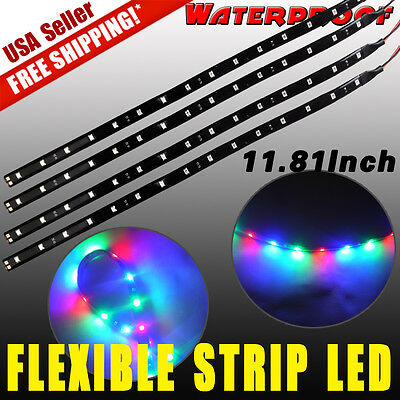 "4x 12""/30CM 15SMD Flexible LED Light Strip Bar for Car Motor Boat Waterproof 12V"