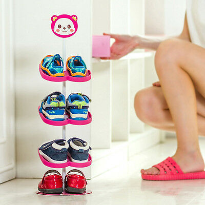 4 Tiers Stand Removable Shoe Storage Rack Organizer Child Shoes Shelf Holder