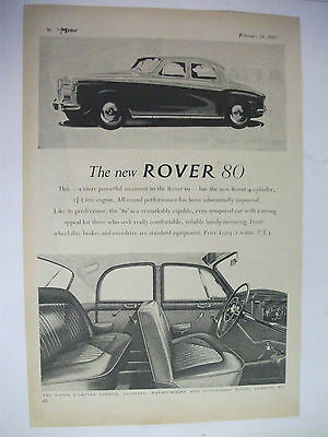 1960 The New Rover 80 British Magazine Fullpage Advertisement