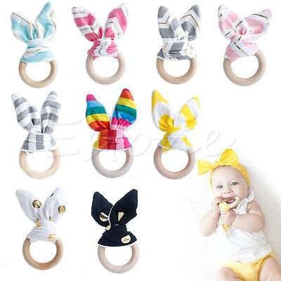 Safety Wooden Natural Baby Rabbit  Teething Ring  Cute Teether Bunny Sensory Toy