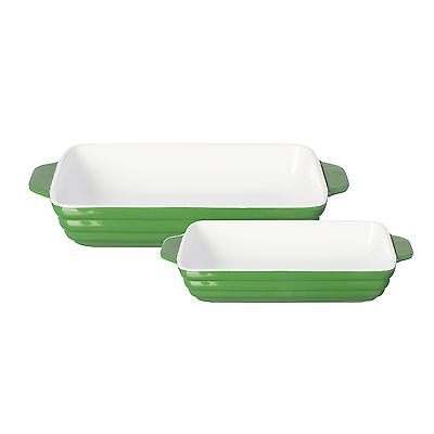 Mason Cash Elite Set of 2  Roasting Dishes Oven To table Oven Dish Green