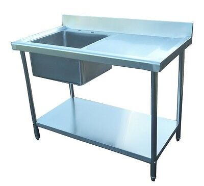 New Commercial Kitchen Stainless Steel Sink 100cm 3.3ft RHD Single Bowl