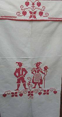 Fold Over Towel German red Cross Stitch traditionell Tyrol Pair Linen