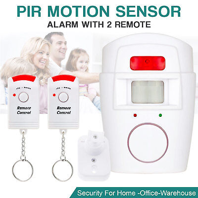 Wireless PIR Motion Sensor Alarm With 2 Remote Controls Home Garage Shed Caravan