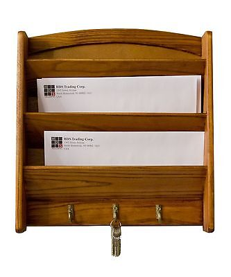 Letter Rack Holder Mail Key Wall Mount Hook Organizer Storage Wood Home Office