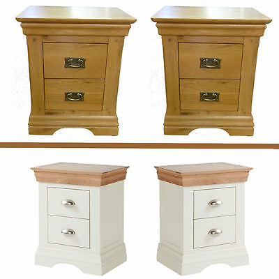 NEW Pair of Farmhouse Ivory OR Oak 2 Drawer Bedside Cabinet's Table's Assembled