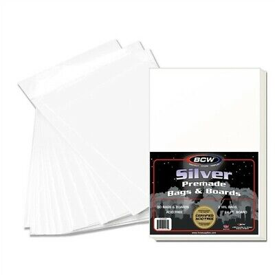 150 BCW Premade Silver Age Comic Book Poly Bags + Acid Free Backer Boards