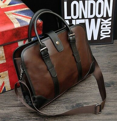 Men's Vintage Brown Satchel Handbag Messenger Bag Shoulder Laptop Bag Briefcase