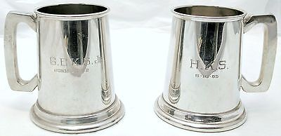 Pair of Sheffield Pewter Beer Mugs