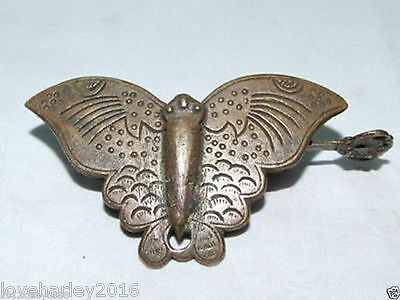 Chinese Boutique collection old style Brass Carved butterfly padlock lock/key