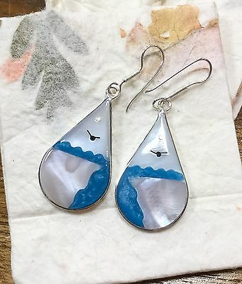 Mexican Sterling Silver Plated Day Landscape Earrings Sea Sun Bird Abalone Blue