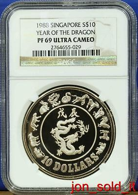 1988 Singapore Silver Dragon Proof Coin NGC PF69