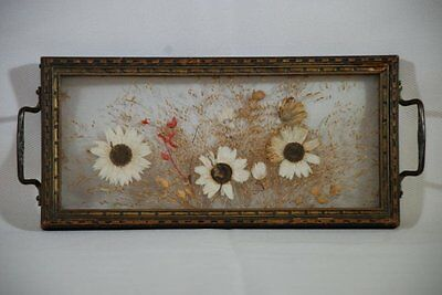 Antique Wooden Framed Decorative Dresser Tray With Pressed Flowers