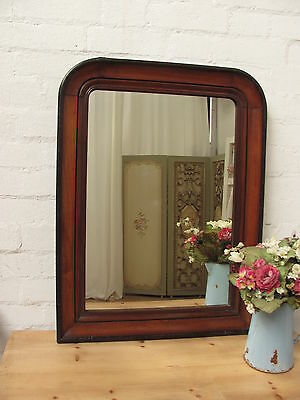 Charming Antique French Wooden Arched Mirror - C1900