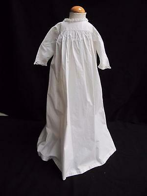 ANTIQUE VICTORIAN WHITE COTTON FRILL BABY'S NIGHTGOWN GOWN c1890
