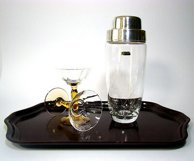 WMF Glas Cocktail Shaker Silver Plated Glass Barware Mid Century Modern 1950s