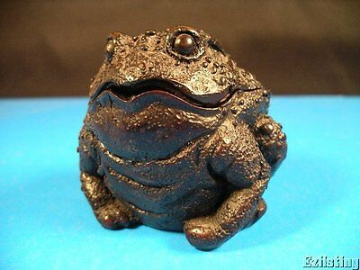Ugly But Cute Dark Cherry Wood Resin Toad Frog Trinket Box