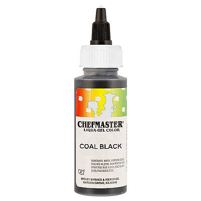 Chefmaster by US Cake Supply 2.3-Ounce Coal Black Liqua-Gel Cake Food Coloring