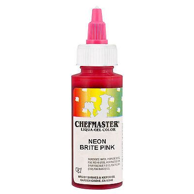 Chefmaster by US Cake Supply 2.3oz Neon Brite Pink Liqua-Gel Cake Food Coloring