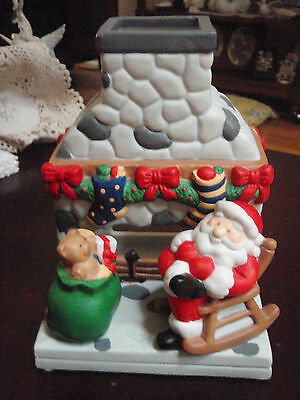 Partylite Porcelain Fireplace with Santa a Yule w toys tealight