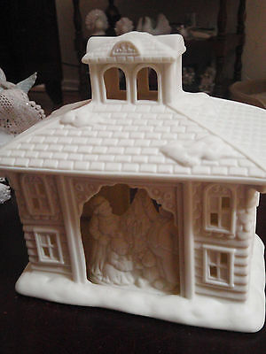 Partylite Bisque O'Holly night Manger scene tealight