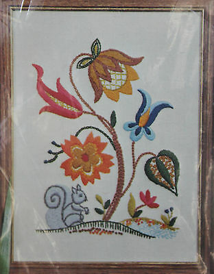 Vintage Paragon JACOBEAN SQUIRREL Stamped Crewel Embroidery Kit 0671 Flowers