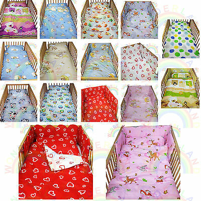 cot bedding set 2 PIECE baby BED SET DUVET cover PILLOW FITTED SHEET