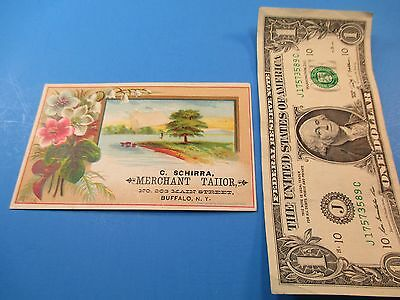 Antique Trade Card C. Schirra Merchant Tailor 203 Main Buffalo NY Pink Flwr TC2