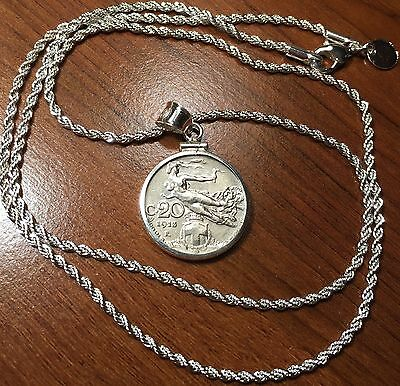 Antique 1908-1922 Italian Nude Coin Sterling Silver Bezel & Plated Rope Necklace