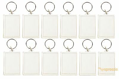 """Lot of 12 Photo Keychains Blank Clear Acrylic Insert Picture Frame 2"""" x 1 3/8"""""""