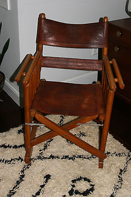 Vintage Mid Century/ Bohemian Tooled Leather Directors Chair-Arne Norell Style