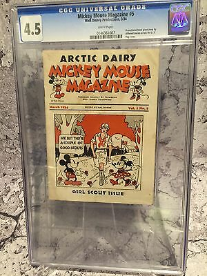 Mickey Mouse Magazine Diary Volume 1 Issue 5 Girl Scouts Issue 1934 #5 Cgc 4.5