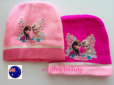 Girls Children Kids PINK FROZEN ELSA ANNA Knit knitting warm ski  Beanie Hat Cap