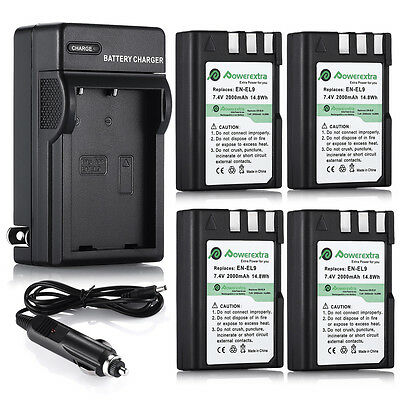 2000mAh EN-EL9 EN-EL9a Battery for Nikon D3000 D5000 D40 D60 + Wall Dock Charger