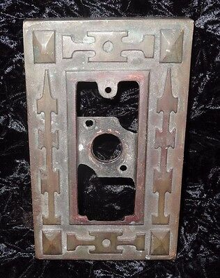 Lot 2 Antique Cast Bronze Southwestern Arts Crafts Elevator Control Button Plate