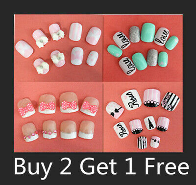 20/24 Girls Acrylic Fake False Nail Set Nail Tips With Press On Glue For Party