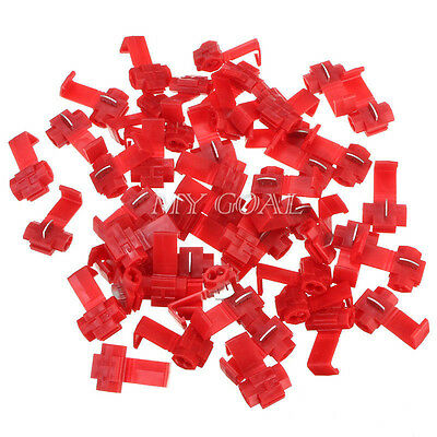 50X Scotch Lock Wire Electrical Cable Connector Quick Splice Terminals Crimp Red
