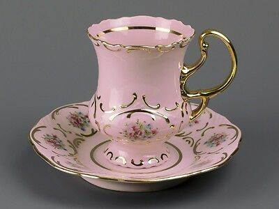 Carlsbad  Pink Porcelain  Marked Coffee Cup&saucer - Czechoslovakia
