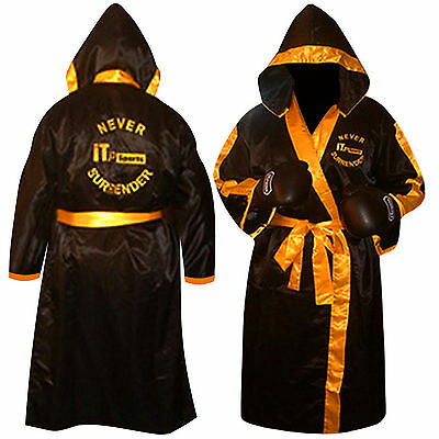 Martial Art Boxing Gown / Robe Boxing Gown Mens,Youth,Children BLACK-YELLOW TRIM