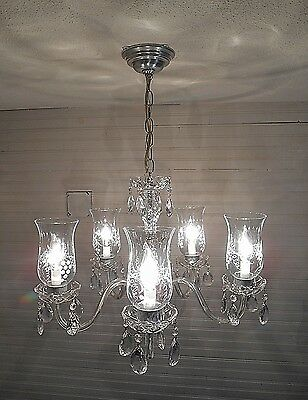 Vintage  Light Lamp Crystal Glass Prism Etched Shade  Chandelier-Matching Pair • CAD $313.55