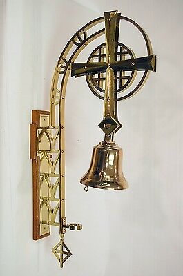 """Large 33 1/2"""" Wall Mounted Sanctuary Brass Church Bell (Tcg#120)"""